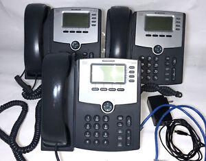 LOT OF 3 Cisco SPA504G VOIP PoE 4-LIne IP Phones / Handsets Great Shape!!