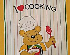 VINTAGE AUTHENTIC KITCHEN ART TEDDY BEAR YELLOW GREEN COTTON KITCHEN TEA TOWEL