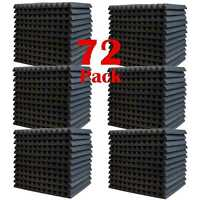 "72 Pack Acoustic Foam Panel Wedge Studio Soundproofing Wall Tiles 1"" X 12"" X 12"""