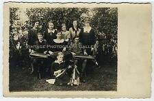 Real Photo Postcard RPPC European Women With Musical Instruments Zither 1927