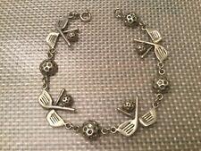 "Vintage Golf Club & Golf Ball Sterling Silver 925 Chain Link Bracelet 6 3/4"""