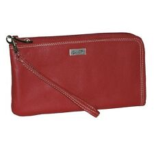 New Buxton Westcott RFID L-Zip Expandable with Removable Strap Wallet, Red