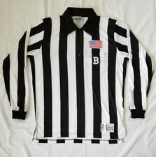 Mens Size Large Black/White Stripes Honig's Whistle Stop Referee L/Sleeve Jersey