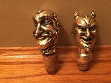 Cork Screw Bottle Stoppers   DEVIL and  WIZARD Figure Heads