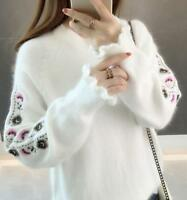 Women Warm Ruffled Embroidery Scoop Neck Loose Casual Tops Knit Sweater Pullover