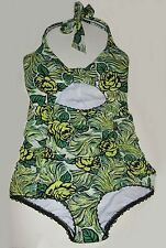 NWOT ANNA SUI GREEN FLORAL ONE PIECE HALTER NECK CUT OUT SWIMSUIT SIZE XS