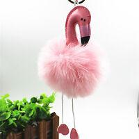 Flamingo Keychain Fluffy Faux Rabbit Ball Key Chain Women Car Bag Key Rin xh