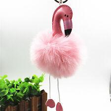 Flamingo llavero esponjoso de piel de conejo de imitación bola llavero SPES
