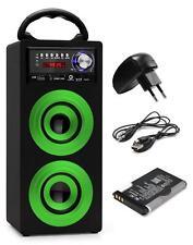 Mobil Bluetooth Lautsprecher USB SD Aux MP3 Player Sound Grün Netzteil Set