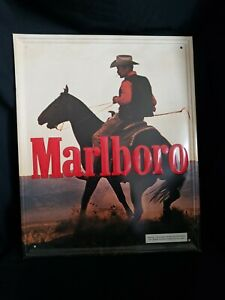 Marlboro Man On Horse Metal Sign 21 x 17 Inches Slight Bend See Pictures