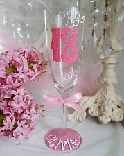 Personalised Hand Painted birthday 16th 21st 18th 30th 40 50 wine glass gift mum