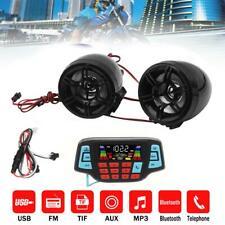 Waterproof USB Bluetooth Motorcycle Audio FM Radio System Stereo MP3 Speaker US