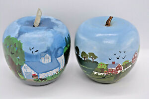 2 Amish (?) Hand Painted Wood Apples, Lancaster Country Farm, PA, Signed Linda ?