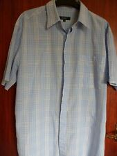 gents Wolsey short sleeved shirt blue/white check size L tencel/cotton collared