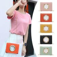 Solid Color Clear Shoulder Handbags PU Leather Women Chain Crossbody Bags