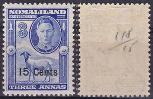 Somaliland Protectorate 1951 KGVI 15c Overprint Sheep SG--127 MLH   - US Seller