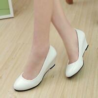 Ladies Womens Wedge Heels Pumps Court Patent Leather Party Office Sandals Shoes