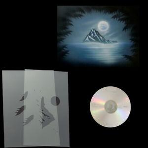 Schablonen Airbrush Step by Step Berg-Landschaft-Mond # 0192 & Anleitungs CD