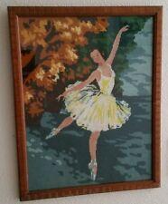 Royal Paris Completed Framed Needlepoint Ballerina Ballet Wood Frame Estate