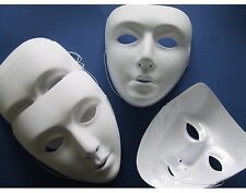 10 X Plain White Face Paintable Masquerade Plastic Mask for Fancy Dress Party