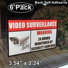 6 Home Security Video Surveillance Window Door Warning Vinyl Sticker Decal Sign