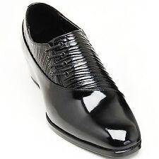 Men's leather side lace up unique wrinkle shape glossy black dress shoes US 6-10
