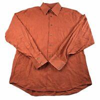 Ermenegildo Zegna Men's Sz Large Orange Plaid Made in Italy Button-Down Shirt