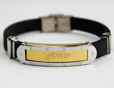 AMIR - Bracelet With Name - Mens Silicone & Gold Tone Engraved - Gifts For Him