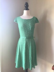 REVIEW GREEN LACE FIT FLARE CUT OUT BELT CAP SLEEVE COTTON NYLON DRESS SIZE 12