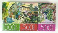 """3 Cardinal 500 Piece Jigsaw Puzzle  11"""" x 14""""  Japan and Flower Garden & Street"""