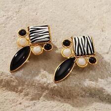 New Tara Mesa Zebra Pattern Earrings