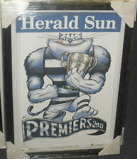 GEELONG 2011 UNSIGNED HERALD SUN PREMIERS POSTER FRAMED -BRAND NEW!