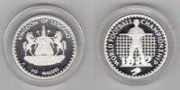 LESOTHO – RARE SILVER PROOF 10 MALOTI COIN 1982 YEAR KM#32 SPAIN FIFA WORLD CUP
