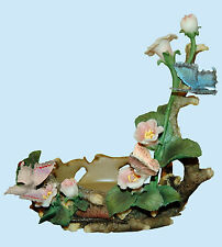 """HOME INTERIORS Pretty Butterfly Flowered Lovely Candle Holder 7.5"""" Tall 5"""" Wide"""