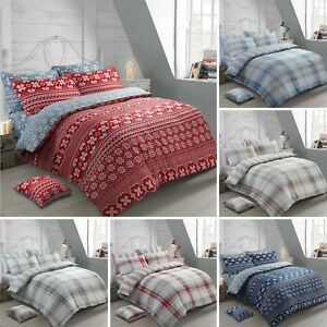 Thermal Flannelette Duvet Cover Bedding Set Brushed Cotton Soft, Cosy & Warm Bed