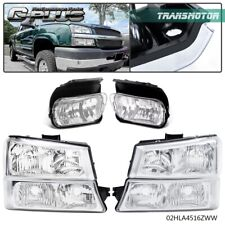 Fit For 03 06 Chevy Silverado Clear Signal Chrome Headlightsfog Lamps Kit Fits More Than One Vehicle