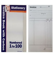 NEW Full Size A5 Invoice Duplicate Receipt Book Numbered Cash 1 - 100 Pages Pad