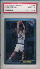 Vince Carter RAPTORS HAWKS 1998 99 Topps Chrome #199 Rookie Card rC PSA 9 Mint