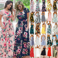 UK Womens Boho Maxi Floral Dress Summer Ladies Short Sleeve Long Flower Dress
