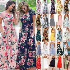 UK Womens Boho Maxi Floral Dress Summer Ladies Short Sleeve Long Flower Dress
