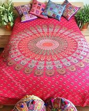 Divine NEUF ROUGE PAON MANDALA format Double Throw Wall Hanging Yoga lit Gypsy
