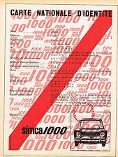 PUBLICITE ADVERTISING 025  1962  LA CARTE D'IDENTITE de la SIMCA 1000