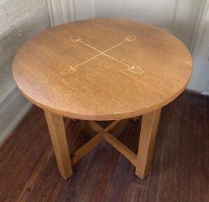 "reissue 2000 Stickley Mission Harvey Ellis inlay white oak lamp coffee table 24"""