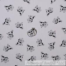 BonEful FABRIC Cotton Quilt VTG White Black B&W Small Little Puppy Dog Boy SCRAP