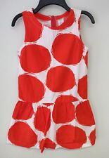 Gymboree Girls White Orange Dots Dress Sz 8