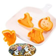 4pcs Halloween Ghost Theme Plastic Cookie Cutter baking Decor Tools cute