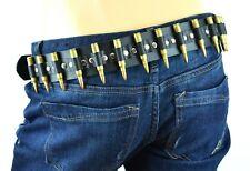 Bullet Belt M16 .223 Caliber Brass Bullet Leather Riveted Punk Goth Metal USA