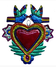 Hand-Punched Tin Ornament  Heart Milagro w Doves  Love Birds  Mexican Folk Art