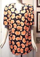 Gorgeous Louis Feraud 100% Silk Short Sleeve Lined Floral Blazer Jacket, Size 14