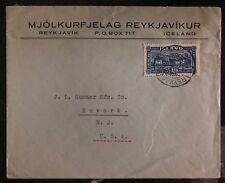 1926 Reykjavik Iceland Commercial Cover To Newark OH USA SC #35a